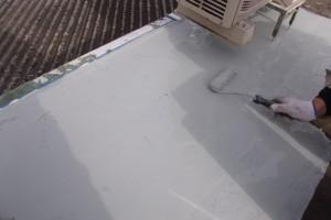防水屋上ウレタン下塗り塗布状況1